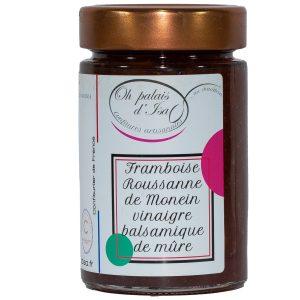 Confiture-framboise-roussanne-de-Monein-vinaigre-balsmamique-de-mûre